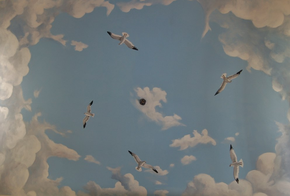 sky and clouds ceiling mural painting